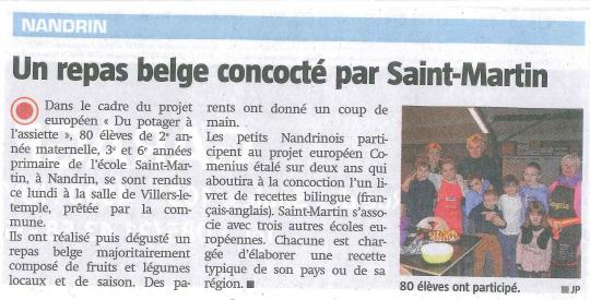 Article  Repas Comenius (La Meuse 21 01 15)