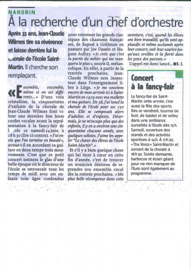 Article Le Jour concert final chorale du 25 juin 2016