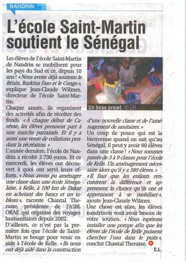 Soutien à l'école de Kelle au Sénégal