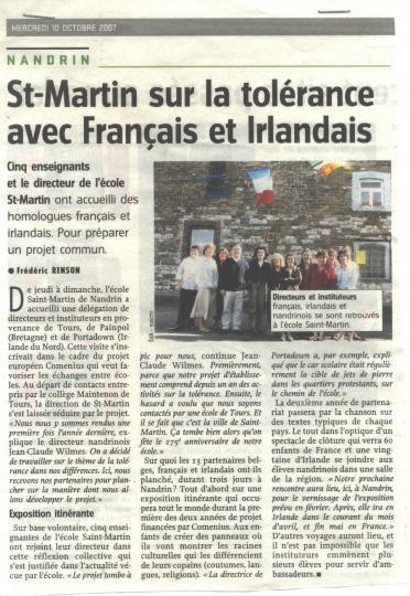 2007 Saint-Martin Comenius avec Français et Irlandais