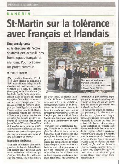 2007 Saint-Martin sur la tolérance avec Français et Irlandais