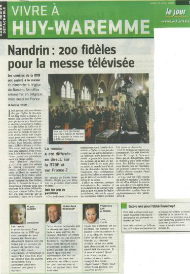 2008 Nandrin, 200 fidèles pour la messe télévisée