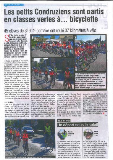 Article départ classes vertes 9 mai 2016 (La Meuse)
