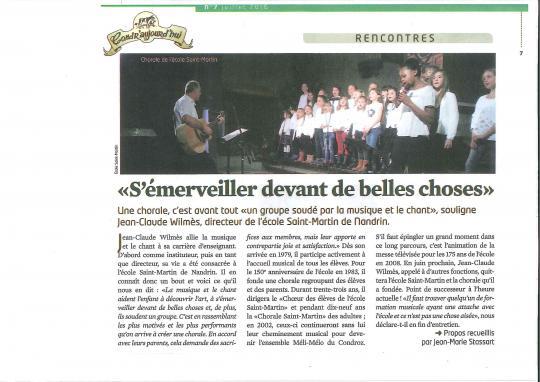 Article JC Wilmes et fin de la chorale