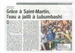 Article Pompe à eau pour le Congo (Le Jour 11 10 14)